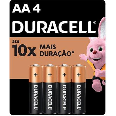 Pilha Alcalina Pequena AA Duracell - BT 4 UN