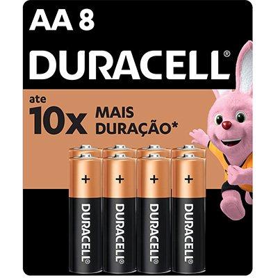Pilha Alcalina Pequena AA Duracell - BT 8 UN