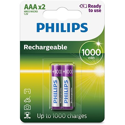 Pilha recarregável AAA 1000mAh R03B2RTU10/97 Philips BT 2 UN
