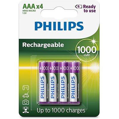 Pilha recarregável AAA 1000mAh R03B4RTU10/97 Philips BT 4 UN