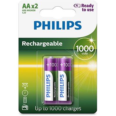Pilha recarregável AA 1000mAh R6B2RTU10/97 Philips BT 2 UN