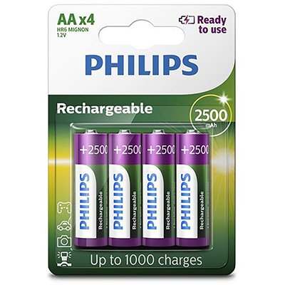 Pilha recarregável AA 2500mAh R6B4RTU25/97 Philips BT 4 UN