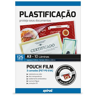 Plástico para plastificação 303x426mm A3 Spiral PT 10 UN