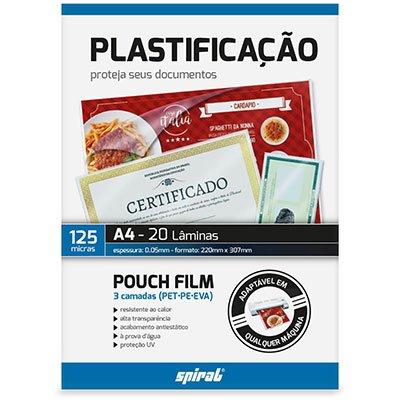 Plástico para plastificação 220x307x0,05 A4 02359 Spiral PT 20 UN