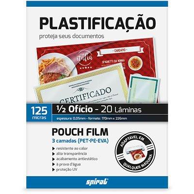 Plástico para plastificação 170x226x0,05 1/2 Ofício II Spiral PT 20 UN