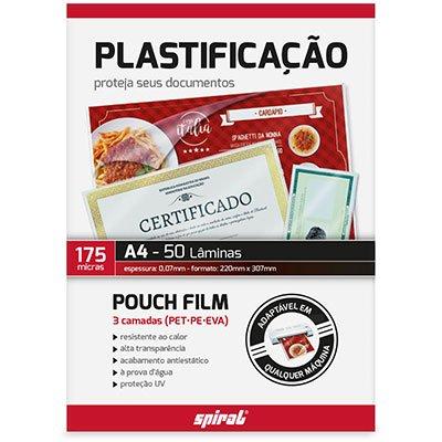 Plástico para plastificação 220x307x0,07 A4 Spiral PT 50 UN