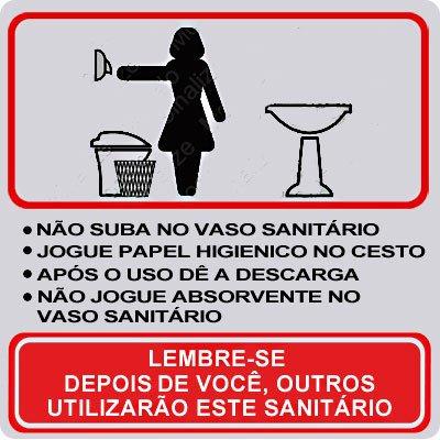 Placa p/ sinalização 15x15 proc. sanitário feminino 120AI Sinalize CX 1 UN