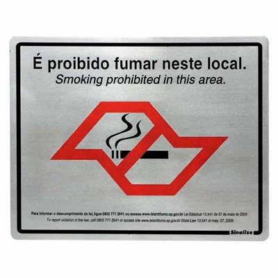 Placa p/ sinalização 20x25 proibido fumar antifumo SP 180SP Sinalize CA 1 UN