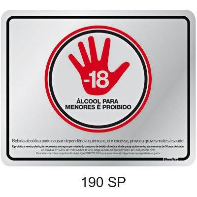 Placa p/ sinalização 20x25 Proibida venda álcool menores 190SP Sinalize BT 1 UN