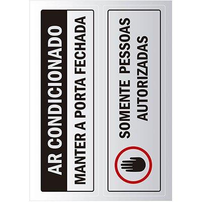 Placa p/ sinalização 6,5x20 ar condicionado/porta automática 891729 Pimaco PT 2 UN