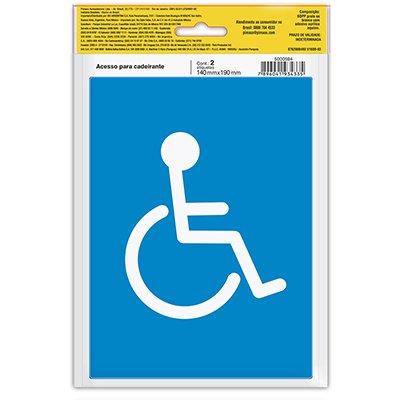 Placa p/ sinalização 14x19 acesso cadeirante 891733 Pimaco PT 2 UN