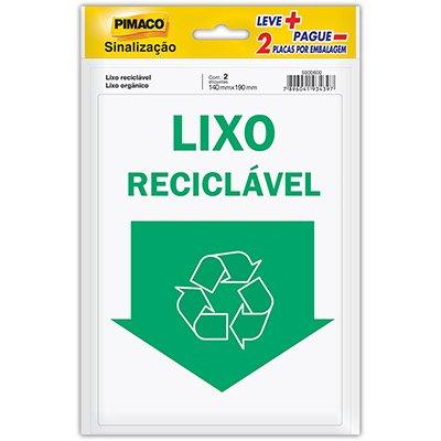 Placa p/ sinalização 14x19 reciclável/orgânico 891739 Pimaco PT 2 UN