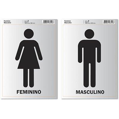 Placa p/ sinalização 14x19 feminino/masculino 891740 Pimaco PT 2 UN