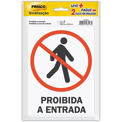 Placa p/ sinalização 14x19 proibida entrada/celular 891743 Pimaco PT 2 UN