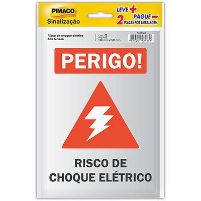 Placa p/ sinalização 14x19 alta tensão/choque 891747 Pimaco PT 2 UN