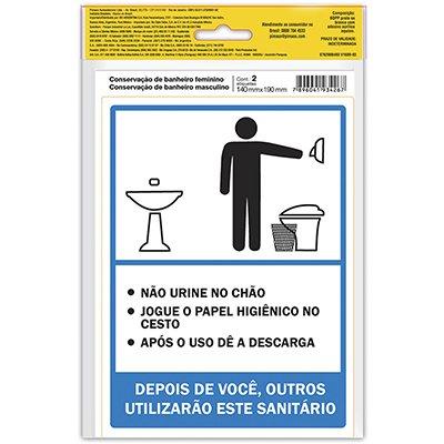 Placa p/ sinalização 14x19 banheiro feminino/masculino 891748 Pimaco PT 2 UN
