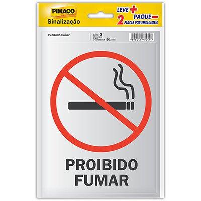 Placa p/ sinalização 14x19 proibido fumar 913334 Pimaco PT 2 UN