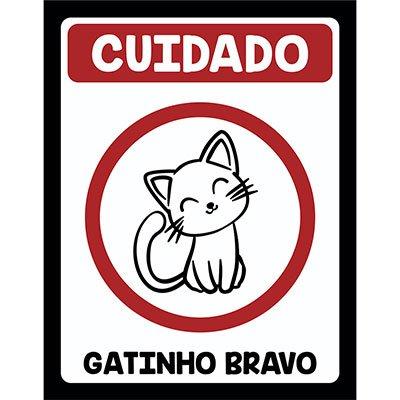 Placa decorativa Gatinho Bravo 245 Legião Nerd BT 1 UN