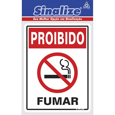 Placa p/ sinalização proibido fumar 030AI Sinalize BT 1 UN