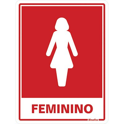 Placa p/ sinalização sanitário feminino 030AA Sinalize BT 1 UN