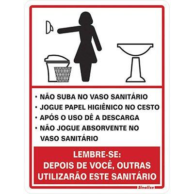 Placa p/ sinalização procedimentos sanitário feminino 030AC Sinalize BT 1 UN
