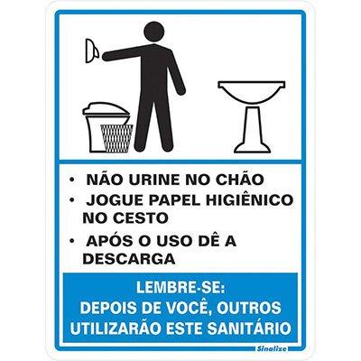 Placa p/ sinalização procedimentos sanitário masculino 030AD Sinalize BT 1 UN