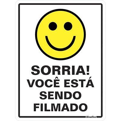 Placa p/ sinalização Sorria! Você está sendo filmado 030AE Sinalize BT 1 UN