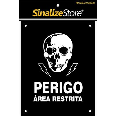 Placa decorativa Perigo Área restrita DEC10 Sinalize BT 1 UN
