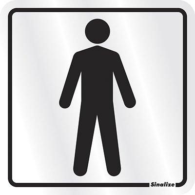 Placa p/ sinalização 12x12 sanitario masculino 900AA Sinalize PT 1 UN