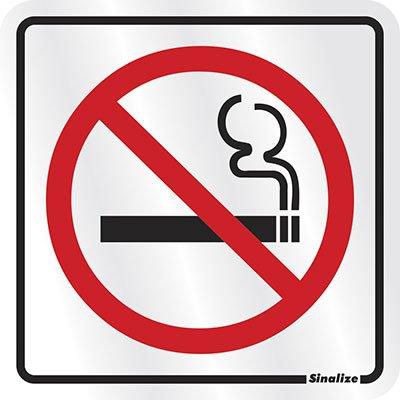 Placa p/ sinalização 12x12 proibido fumar 900AH Sinalize PT 1 UN