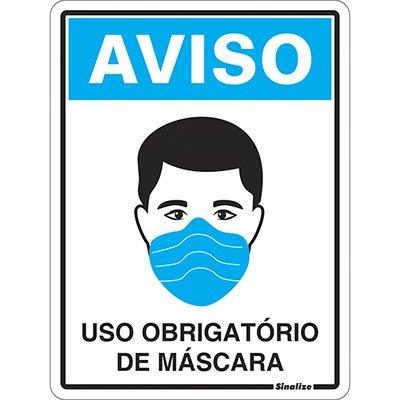 Placa p/sinaliz. 15x20 Uso de Máscara COVID-19 COV01 Sinalize PT 1 UN