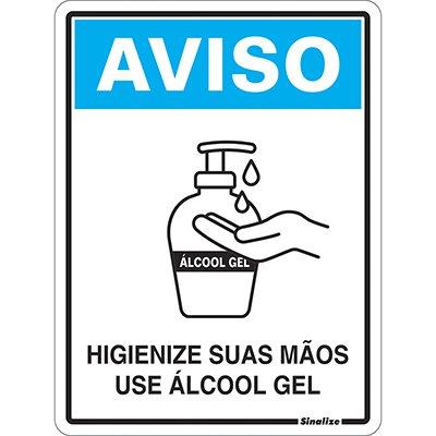 Placa p/sinaliz. 15x20 Use Álcool Gel COVID-19 COV02 Sinalize PT 1 UN