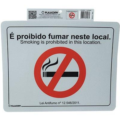 Placa p/sinaliz. Proibido fumar PAL-01160 Plascony PT 1 UN