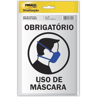 Placa p/sinaliz. 14x19 uso de máscara obrigatório 970793 Pimaco PT 1 UN