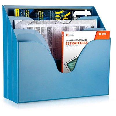 Organizador de escritório triplo azul pastel 10170045 Waleu CX 1 UN