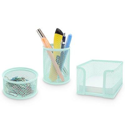 Porta lápis/clips/lembrete aram. kit verde pastel Spiral Office PT 1 UN