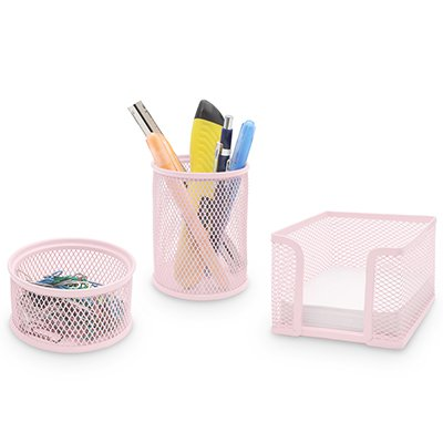 Porta lápis/clips/lembrete aram. kit rosa pastel Spiral Office PT 1 UN