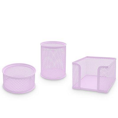 Porta lápis/clips/lembrete aram. kit lilás pastel Spiral Office PT 1 UN