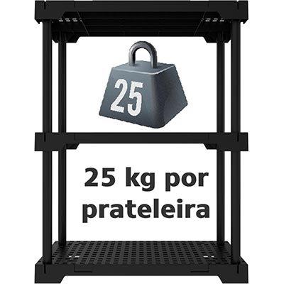 Estante plástica c/3 prateleiras Im In preta 17278 Grifit PT 1 UN
