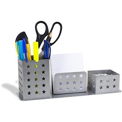 Porta lápis/clips/lembrete aço básico prata Geguton PT 1 UN