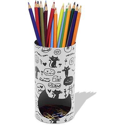 Porta lápis aço Gato branco Geguton PT 1 UN