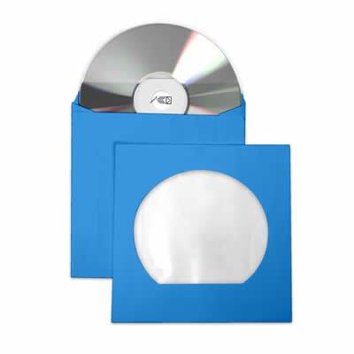 Envelope p/Cd /dvd 126x126mm azul c/janela Celucat BT 10 UN