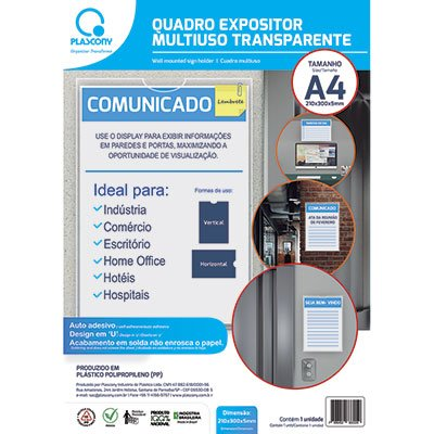 Quadro de aviso A4 multiuso QMA4TR Plascony PT 1 UN