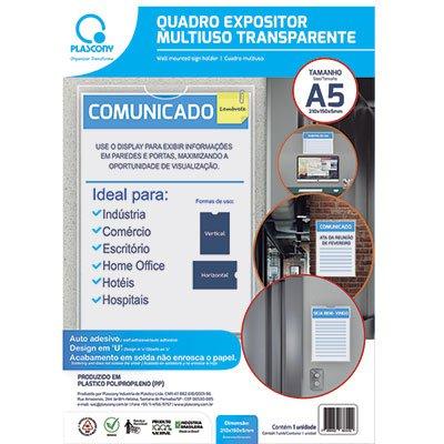 Quadro de aviso A5 multiuso QMA5TR Plascony PT 1 UN