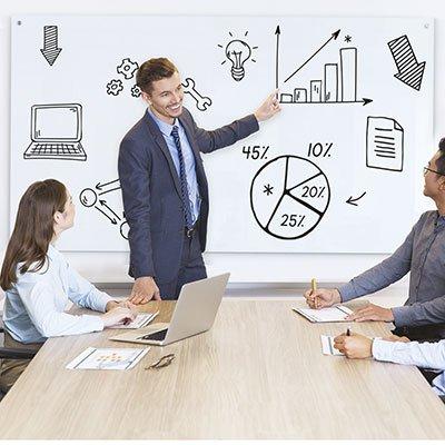 Quadro magnético 90x60 branco de vidro GL9060MAG Easy Office PT 1 UN