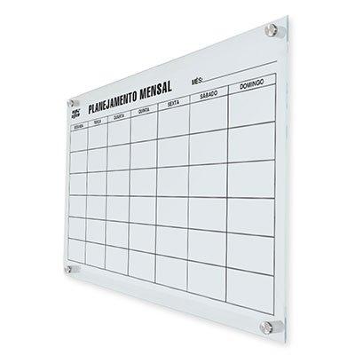 Quadro magnético 90x60 planejamento mensal vidro GL9060PM Easy Office PT 1 UN