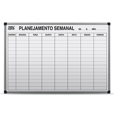 Quadro Branco 90x60 Planejamento Semanal Alumínio AL-9060PS Easy Office PT 1 UN