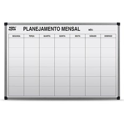Quadro Branco 90x60 Planejamento Mensal Alumínio AL-9060PM Easy Office PT 1 UN