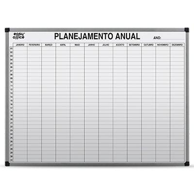 Quadro branco 1,20x0,90 Planejamento Anual Alumínio AL-12090PA Easy Office PT 1 UN
