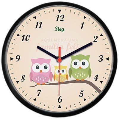 Relógio de Parede 28cm coruja 2803-01 Sieg CX 1 UN